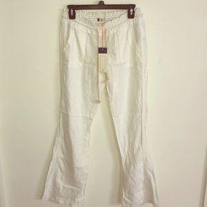 Roxy white linen pants
